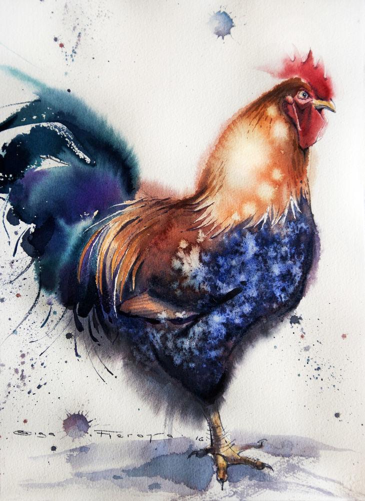 распродажа картин, картина с птицами, картина акварелью