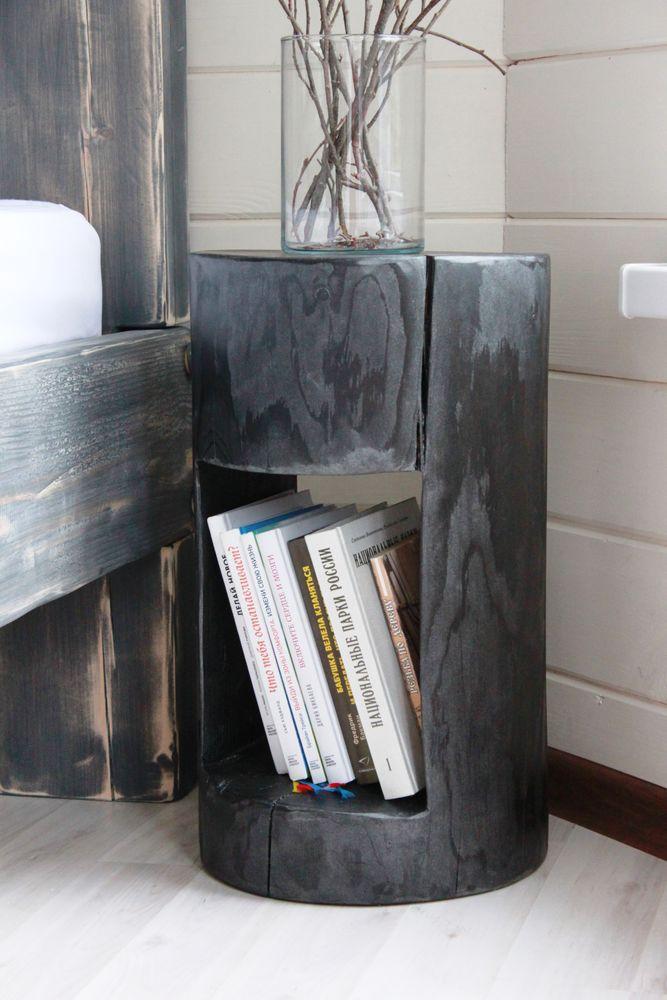 пень, полка для книг, прикроватные тумбы, журнальный столик