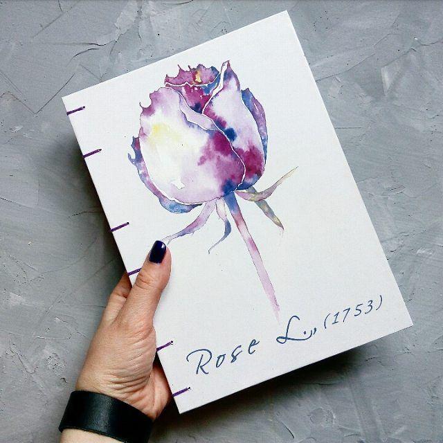 блокнот, блокнот с нуля, блокнот для записей, блокнот ручной работы, блокнот в подарок, роза, розовый цвет, цветы, цветы акварелью, коптский переплет, подарок, подарок девушке, подарок подруге, подарок на любой случай