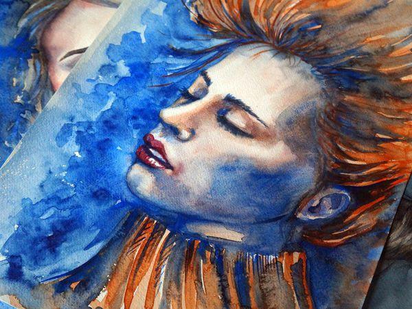 Рисуем акварелью портрет в холодных тонах «Лед и пламя»   Ярмарка Мастеров - ручная работа, handmade