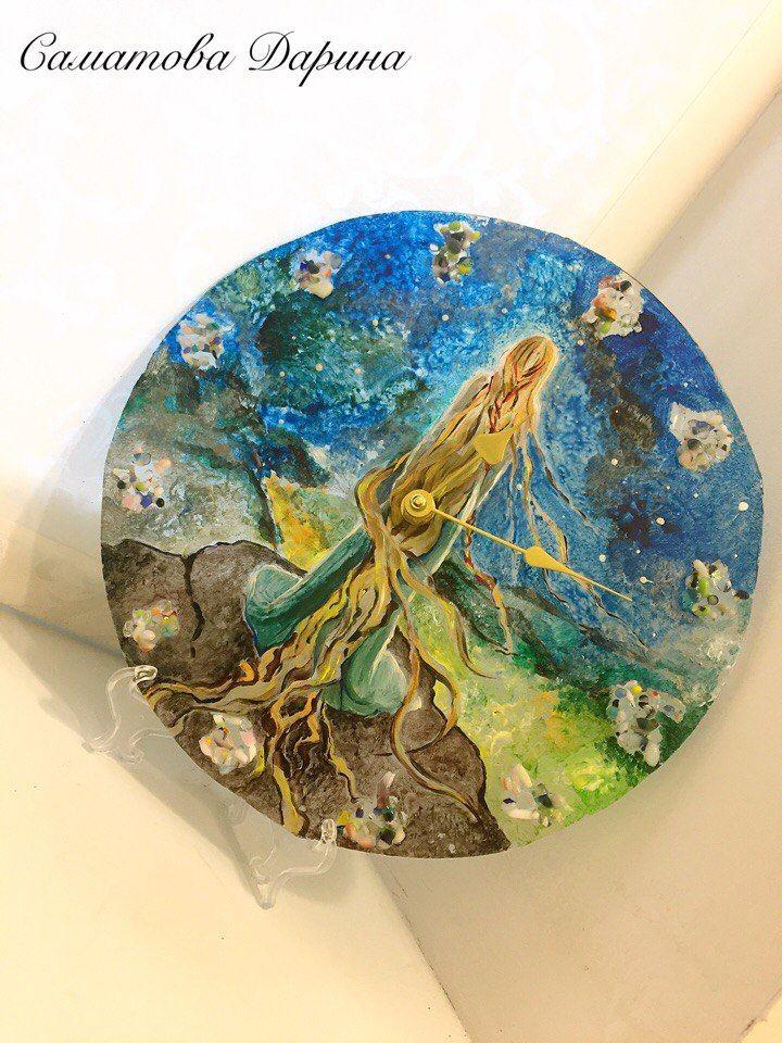 луна, часы в подарок, мама, роспись, стекло