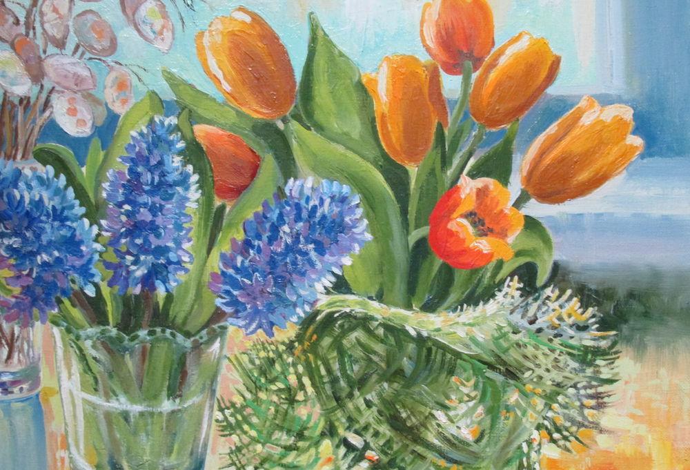 картина маслом, тюльпаны, авторская живопись, свет, весенний