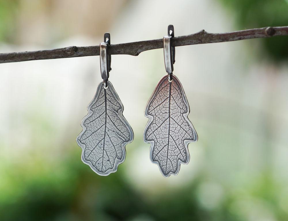 ботаника, серьги из серебра, филина екатерина