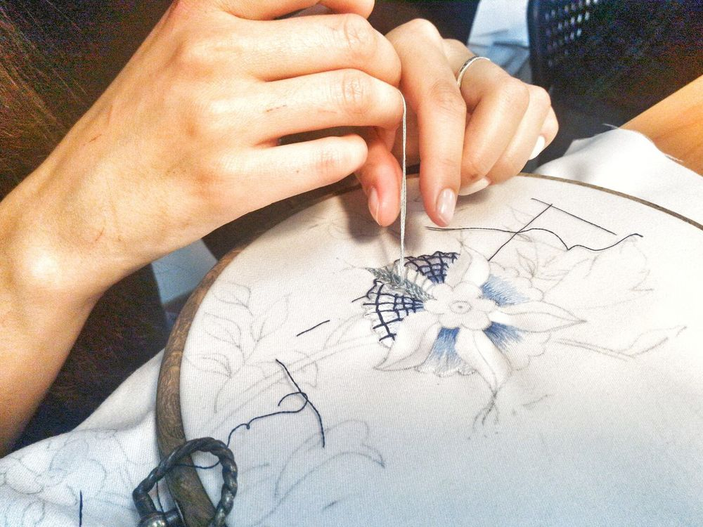 вышивка, рукоделие, ножницы