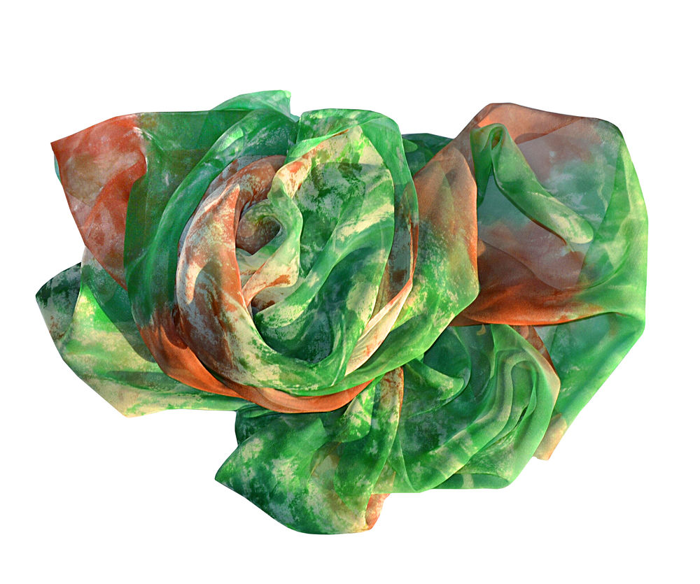 роспись шибори, батик шарф шелковый