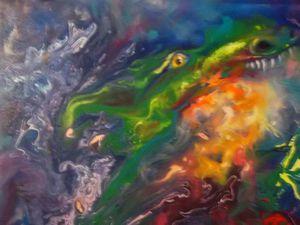 Видео мастер-класс по интуитивной живописи: пишем маслом абстракцию с драконами. Ярмарка Мастеров - ручная работа, handmade.