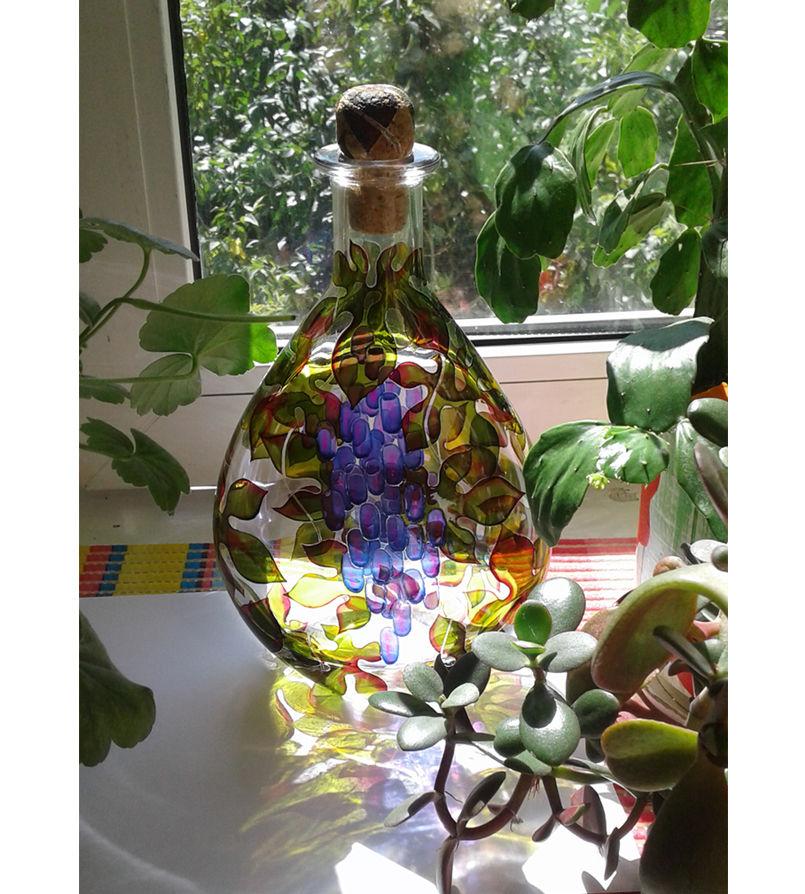 бутылка стеклянная, интерьерное украшение