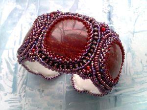 Аукцион на вышитый бисером браслет с натуральными яшмами - закрыт.. Ярмарка Мастеров - ручная работа, handmade.