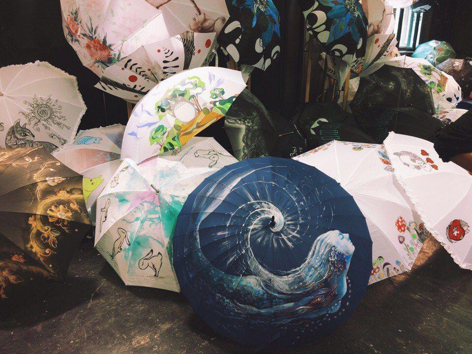 зонт с росписью, роспись акрилом