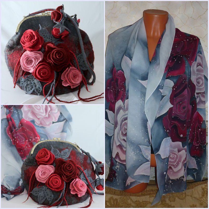 войлок, сумка женская, сумочка с фермуаром, розы, подарок