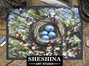 Drawing a Nest on a Tree in Blossom with Dry Pastel. Livemaster - handmade
