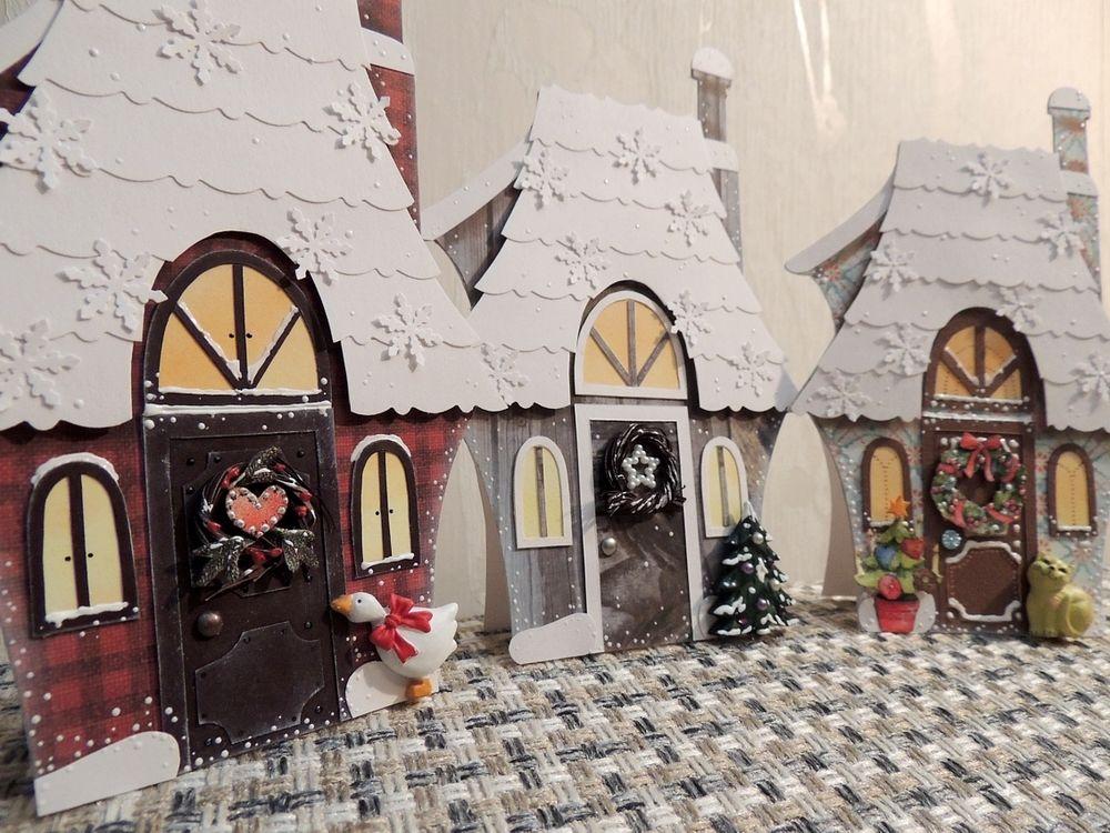 папертоль открытки, зимний домик
