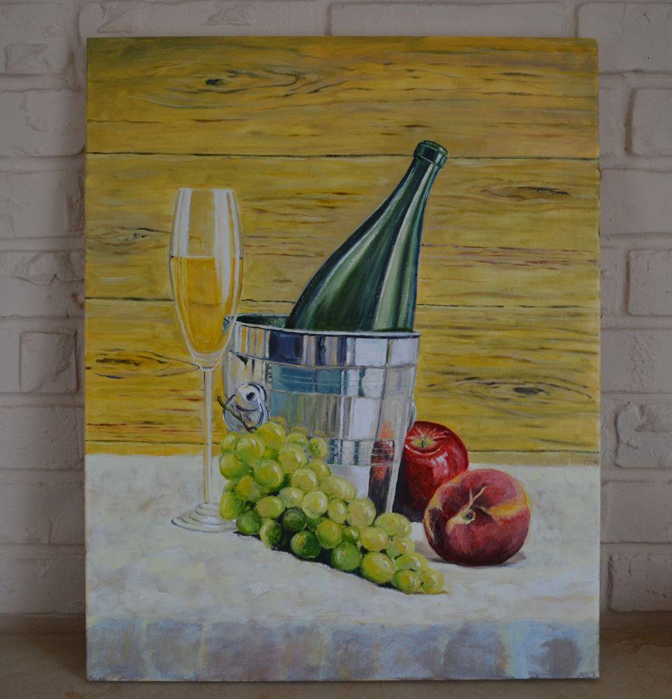 живопись, картина, джентльменский набор, винный натюрморт, фрукты, картина в кухню, яблоко, виноград, бокал вина, натюрморт