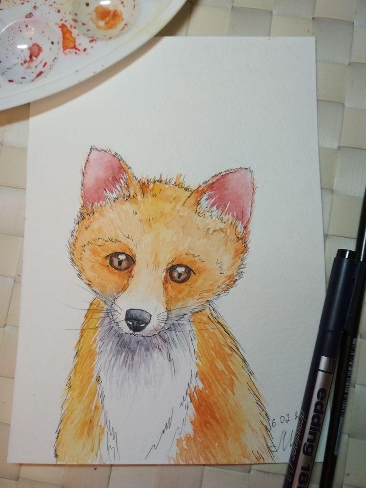 скетч, лис, рисунок, учусь рисовать, арт, акварель, лиса, лисенок, рыжий, уроки рисования, акварельный скетч, уроки скетча
