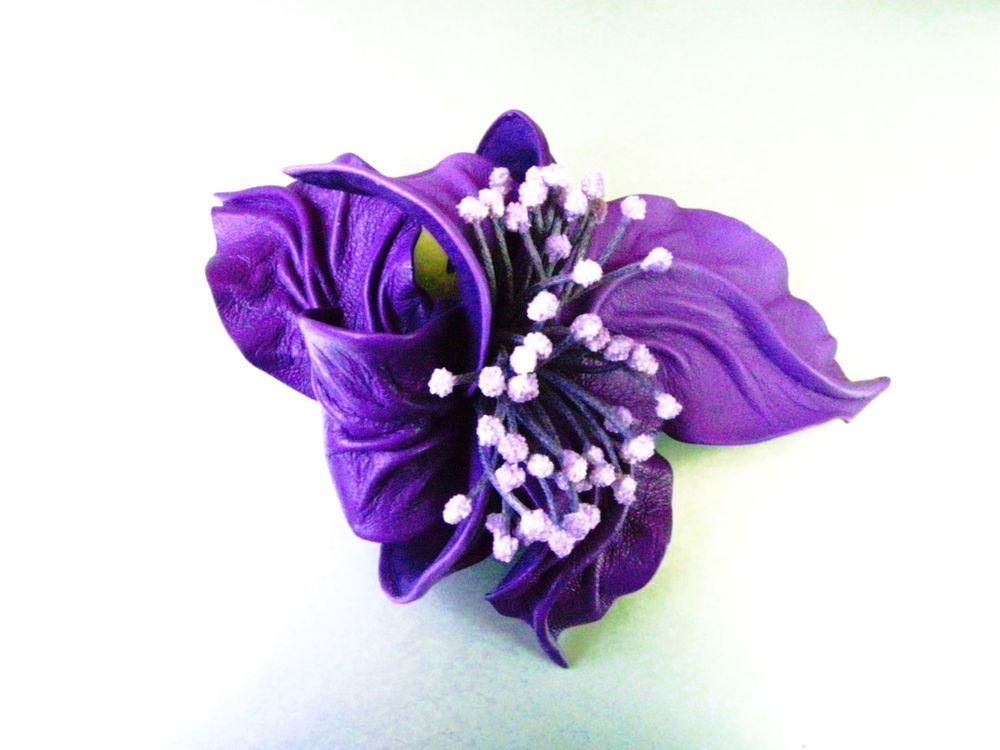 цветок из кожи, брошь на пуховик