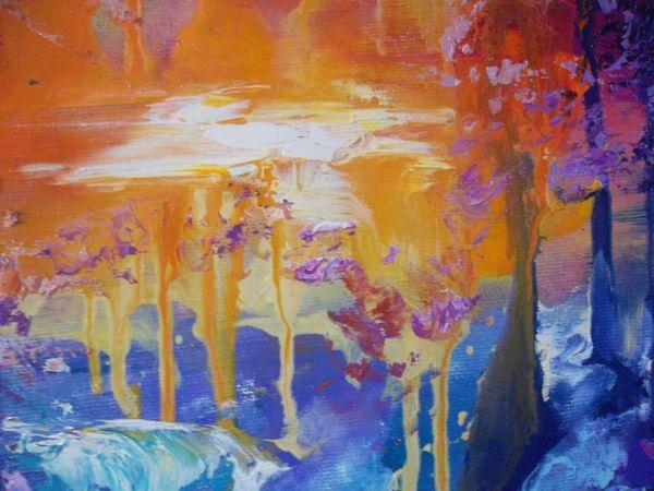 Интуитивная живопись. Серия картин, пишем лес, закат, водопад.   Ярмарка Мастеров - ручная работа, handmade