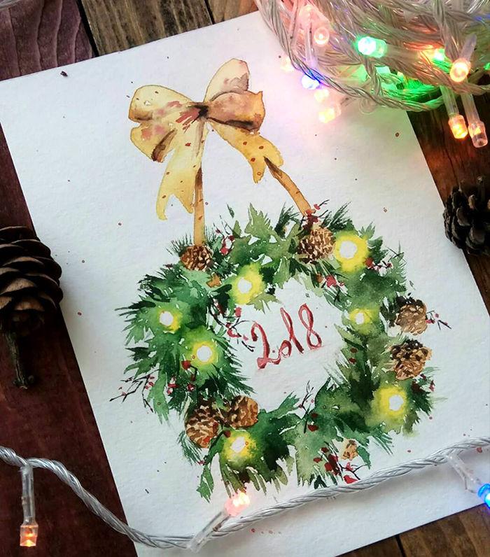 Учимся рисовать акварелью пишем новогоднюю открытку, фото № 1