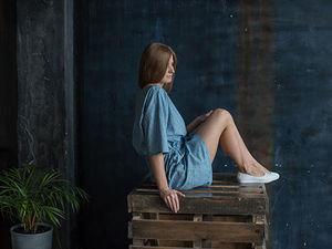 """YOKU LOOK: платье с кулиской из синего хлопка """"пуговицы"""". Ярмарка Мастеров - ручная работа, handmade."""