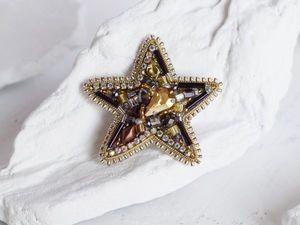 Видео брошь звезда золотистая lucky star. Ярмарка Мастеров - ручная работа, handmade.