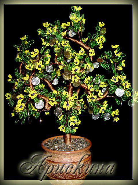 мк дерево, денежное дерево, бисероплетение