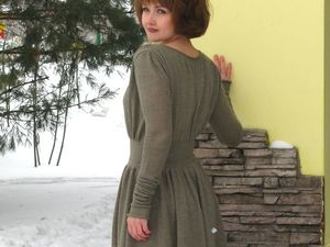 """Аукцион на вязаное платье """"Бэлла""""из альпаки лазурного цвета. Ярмарка Мастеров - ручная работа, handmade."""