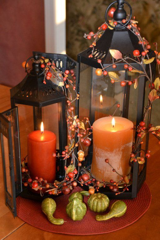 Awesome 50 Fall Lanterns For Outdoor And Indoor Dcor : Calm Modern Interior Design With Wooden Table And Orange Glass Candle Box And Fall F...