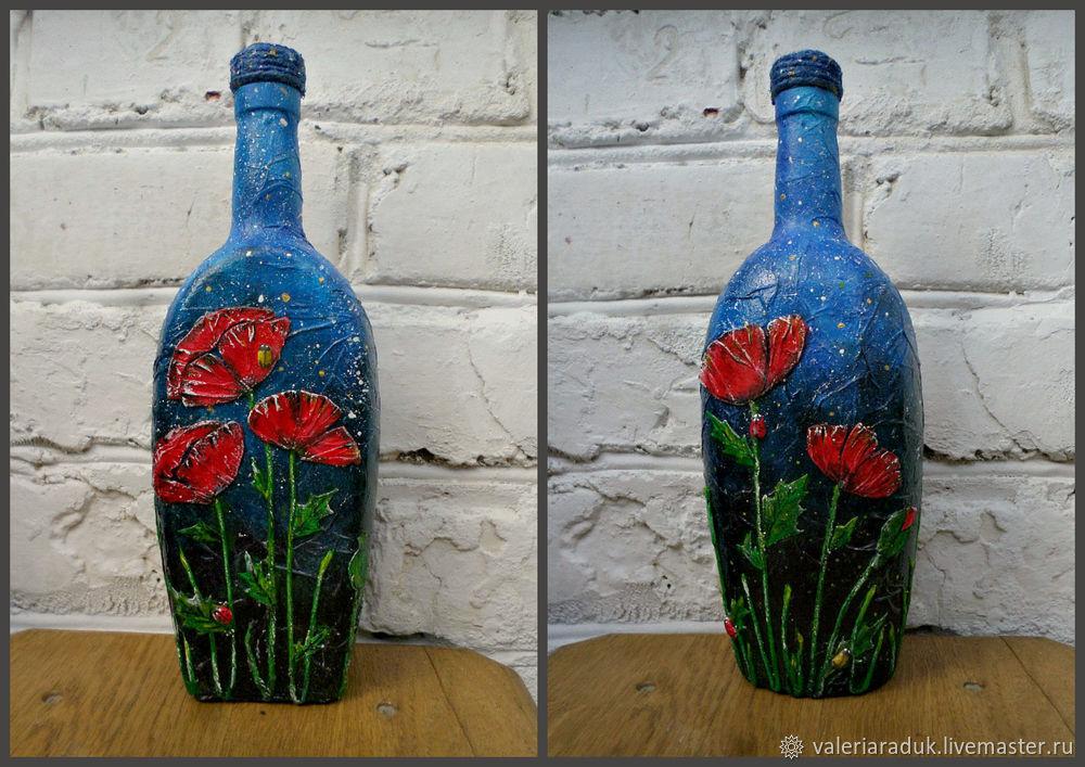 Видео мастер-класс: декорируем бутылку маками под ночным небом, фото № 7