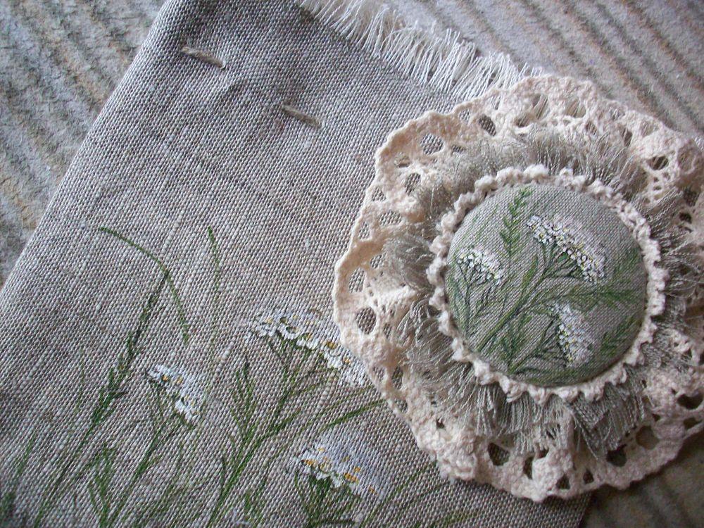 мешочки льняные роспись, летняя брошь бохо