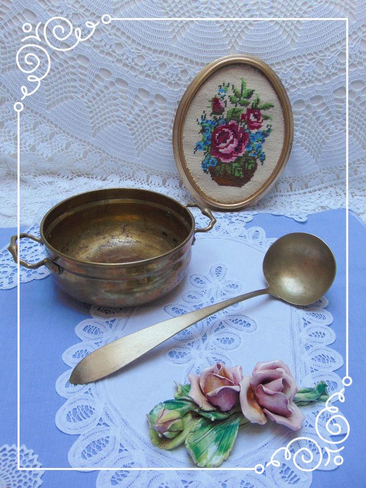 латунная посуда, кухня, половник латунный