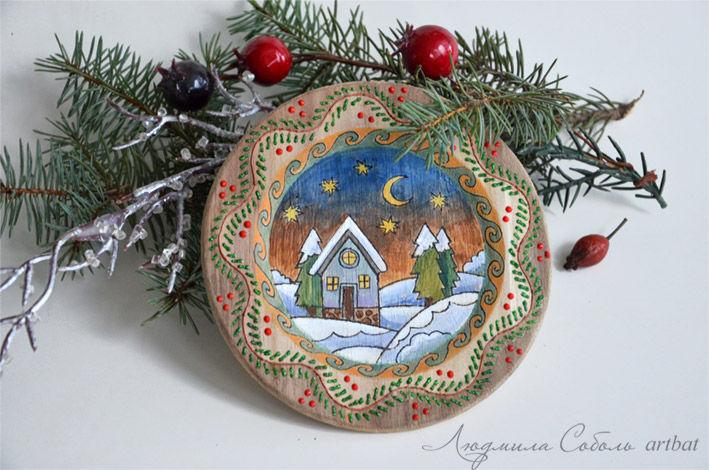 новый год, новогодний декор, зимний пейзаж