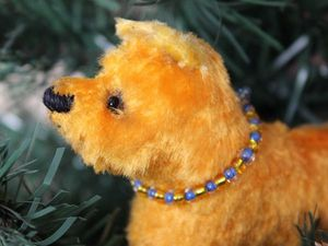 Желтые плюшевые елочные собачки участвуют в конкурсе. Ярмарка Мастеров - ручная работа, handmade.