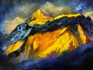 Мастер-класс: картина маслом на холсте на тему сказочного мира гор и зимних грез. Ярмарка Мастеров - ручная работа, handmade.