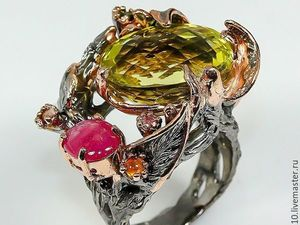 Скидка 30% Кольцо  «Предвкушение лета»  с цитрином и розовым рубином. Ярмарка Мастеров - ручная работа, handmade.