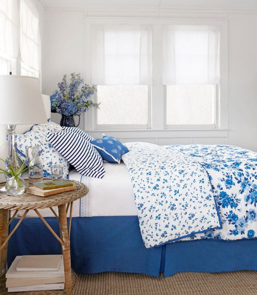 Coax yourself out of hibernation with garden-fresh bedding from our Country Living collection for Sears — paired here with Unison's nautical striped pillowcases.