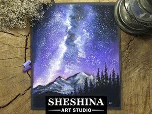 Видеоурок: рисуем звездное небо сухой пастелью. Ярмарка Мастеров - ручная работа, handmade.