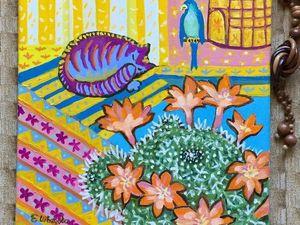 Уютный дом — картина - панно маслом с 15% скидкой.. Ярмарка Мастеров - ручная работа, handmade.