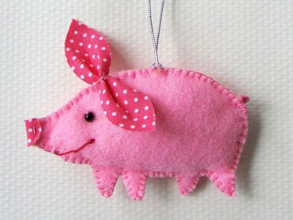 Шьем смешную свинку — елочную игрушку из фетра | Ярмарка Мастеров - ручная работа, handmade