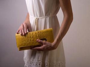 Ветреный день! Развеял цены! Клатч желтый из крокодила всего за 14 990 руб.   Ярмарка Мастеров - ручная работа, handmade