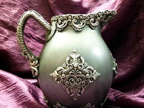 Кувшин  «Серебряное барокко» . Превращаем стекло в серебро!   Ярмарка Мастеров - ручная работа, handmade