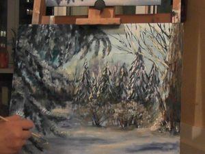 Видеоурок по живописи: рисуем маслом картину «Елочки под снегом». Ярмарка Мастеров - ручная работа, handmade.