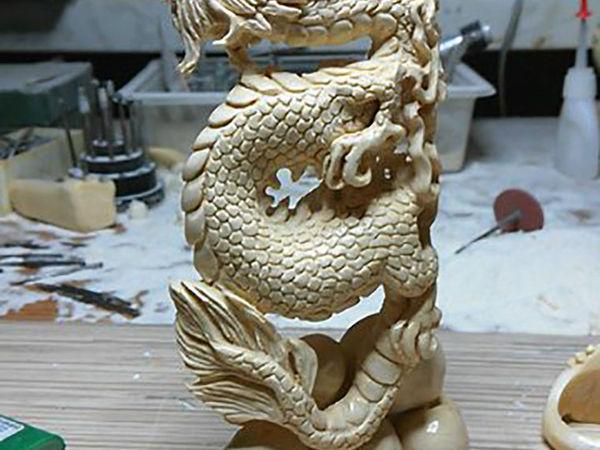 «Рождение Дракона»: резьба по кости без эскиза и лепки модели | Ярмарка Мастеров - ручная работа, handmade