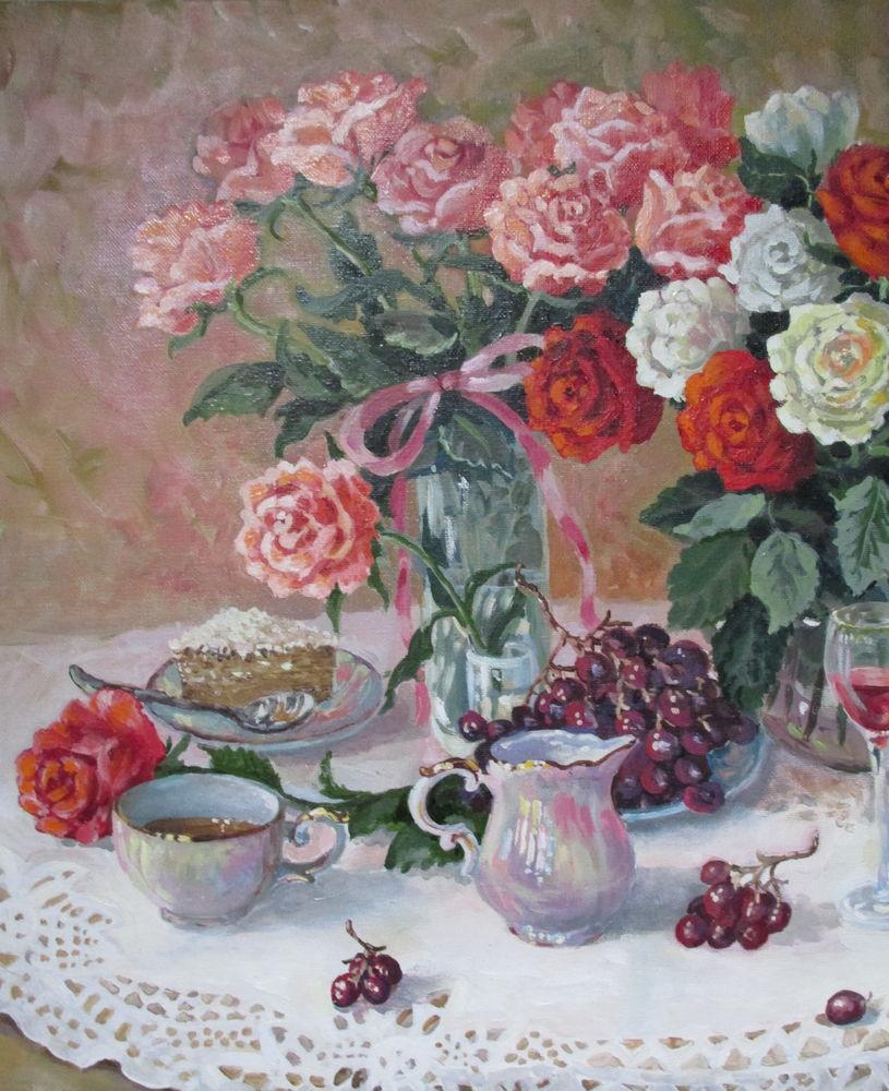 картина для интерьера, натюрморт с цветами, белый цвет, красивая картина купить