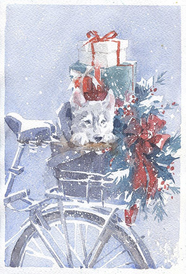 поздравительная открытка, открытка с акварелью, зимняя открытка
