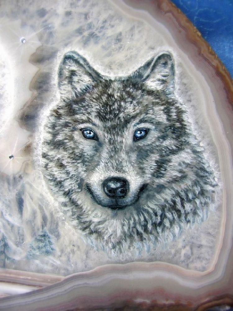 живопись на камне волк, роспись луна филин
