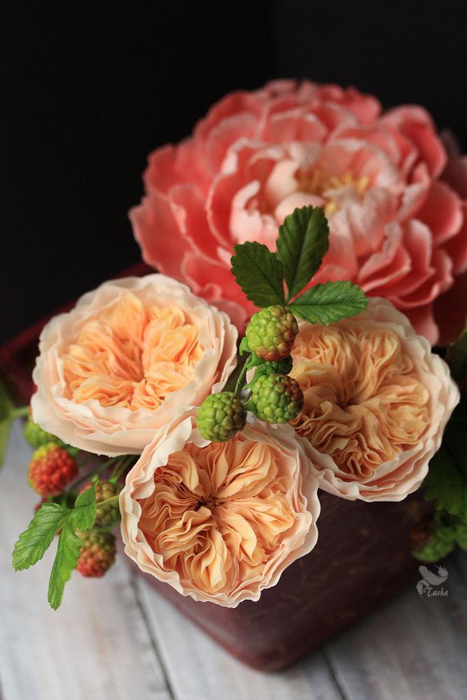 полимерная глина, цветы из глины, розы, розы остина