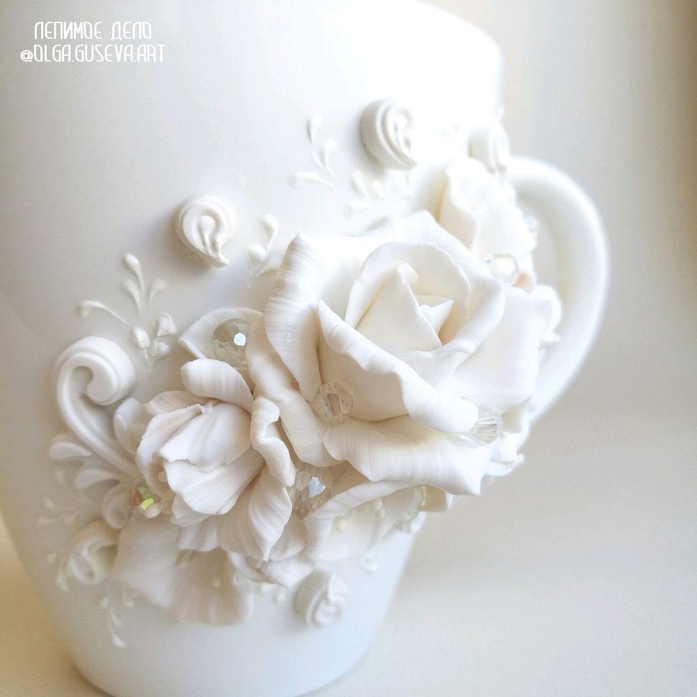 лепимое дело, полимерная флористика, пластика, чашка с декором, подарок своими руками