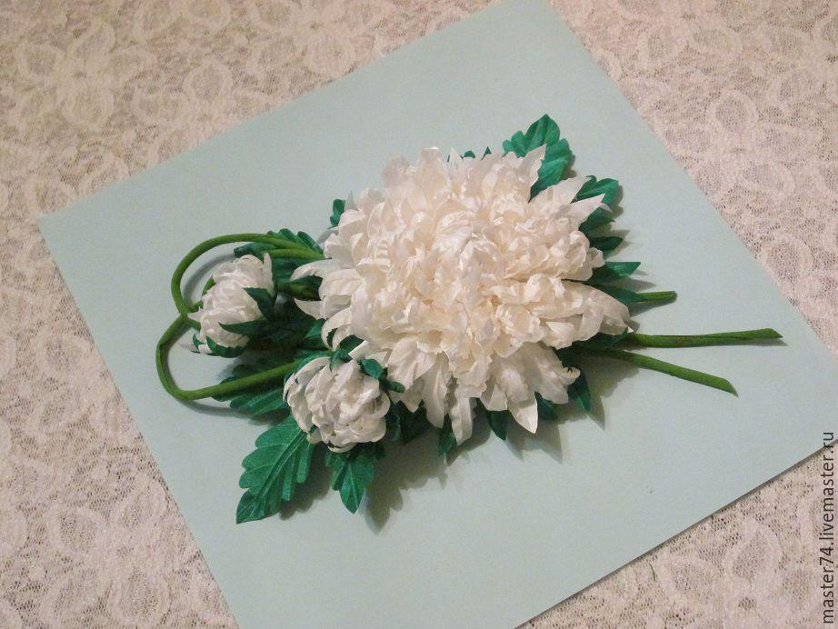 цветы из ткани, заколка для волос