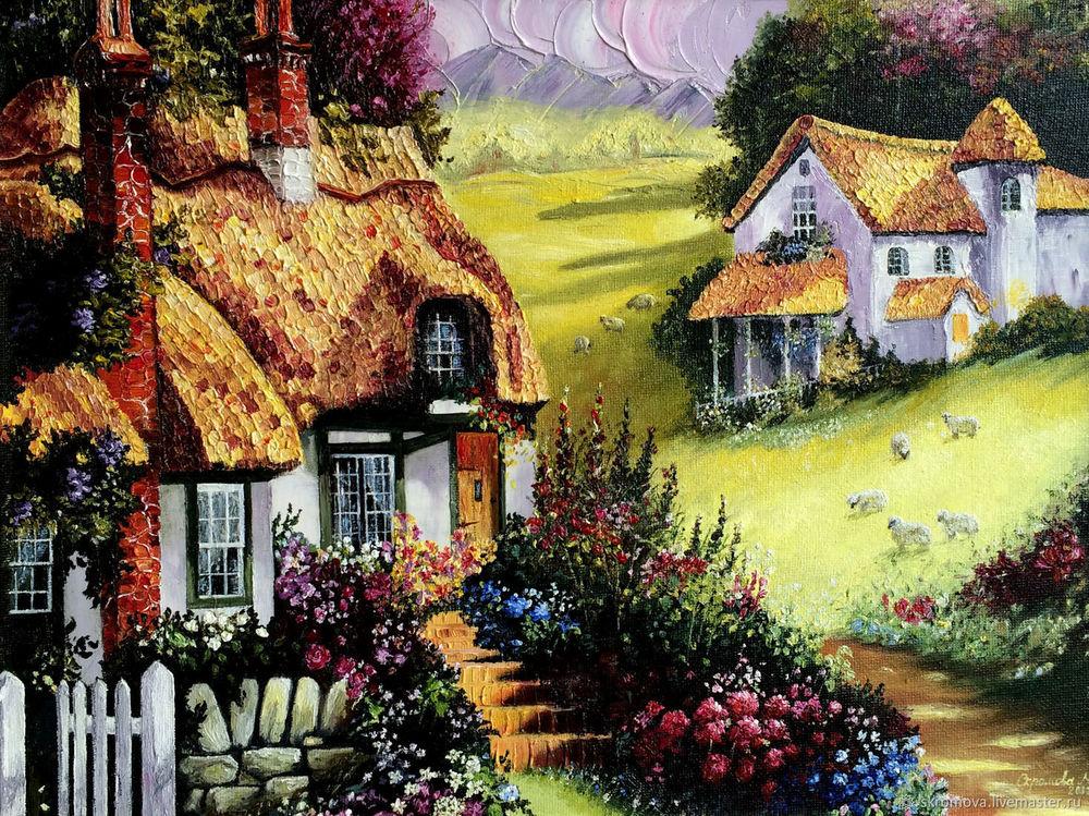 домики маслом, домики, деревня, пейзаж