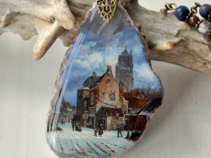 "Лаковая миниатюра "" Старый город"". Ярмарка Мастеров - ручная работа, handmade."