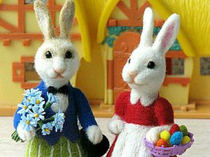Felting an Easter Bunny Couple. Livemaster - handmade